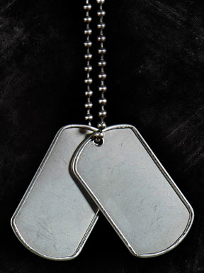 dog tags on a chain - name tags